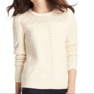 Loft Cream White Lace Knit Pullover Sweater